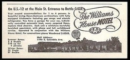 Williams House Motel Ad Battle Creek Michigan Apts 1954 Roadside Photo A... - $10.99