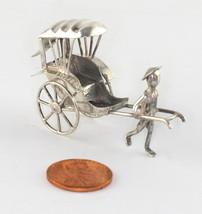 Vintage Chinese Art Deco Export Solid Silver 90 Mini Rickshaw Bearer Fig... - $36.00