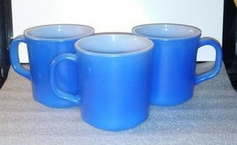 Anchor Hocking Lot of 3 Mugs / Blue 209 / Vintage RARE - $58.19