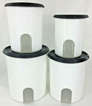 Tupperware One Touch Reminder Set of 4 Canisters Reminder Windows w/Black Seals - $45.80
