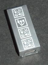 Judaica Car Mezuzah Case Aluminum Silver Floral Pomegranate Closed Back 5 cm image 2