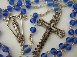 Vintage Catholic Rosary Sapphire Blue Glass Beads nice Crucifix & medal ... - $36.47