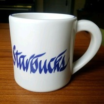 "Rare Starbucks in Blue Script Pottery Coffee Mug, White 12oz, 3 1/2"" wide - $38.69"