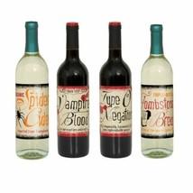 Halloween Vintage Beverage Wine Bottle Labels 4 Ct Party - $2.77