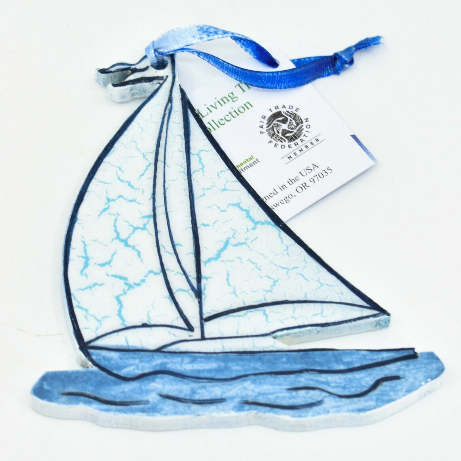 Handcrafted Sailboat Boat Nautical Recycled Wood Craquelure Painted Ornament