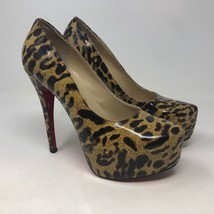 "Christian Loubotin Leopard Print 5"" Heels Sz 39 EU 9 US Animal Leather Red - $420.74"
