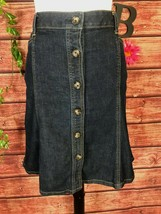 Ann Taylor Skirt size 8 Denim Jean Knee A Line Button Front Stretch Clas... - $29.97