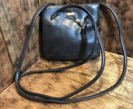 Nine West Black Leather Shoulder Bag Purse Small  - $24.75