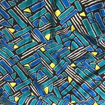 "Nylon Geometric Print Turquoise Blue White on Black  Fabric 2 Yards x 59"" Wide - $3.79"