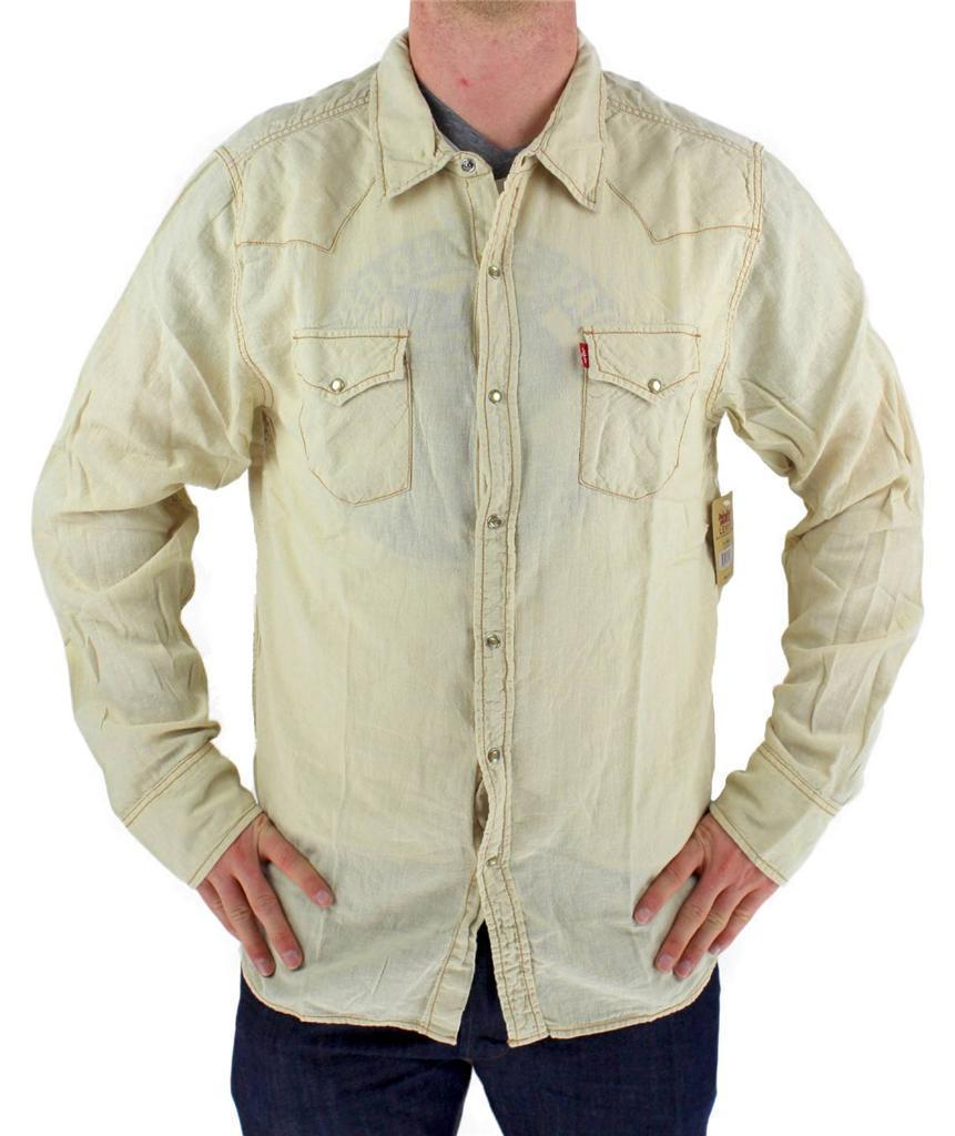 NEW LEVI'S MEN'S LINEN LONG SLEEVE BUTTON UP CASUAL DRESS SHIRT BEIGE 8151400