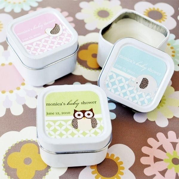 Primary image for Personalized Baby Animals Jungle Lion Owl Candle Tin Shower Favor 30-60-96