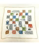 Vintage Hankie Heraldic Design Letters 14 1/2 Very Cool - $18.32