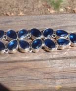 Sapphire Blue Quartz Nugget Cobblestone Bracelet, Adjustable Length, Toggle - $25.00