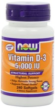Now Foods VITAMIN D-3 5000 IU - 240 SOFTGELS - $14.99