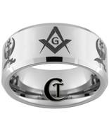 Tungsten Wedding Bands 10mm Beveled Masonic Shr... - $49.00