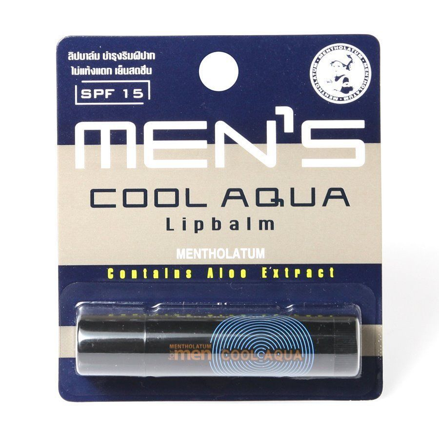 Mentholatum Men's Cool Aqua Lip Balm SPF15 Aloe Extract & Macadamia Nut Oil
