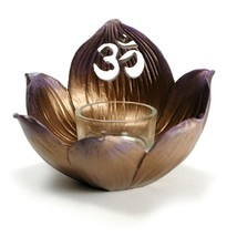 LOTUS with OHM SYMBOL CANDLE HOLDER Votive Multi Function Altar Display ... - $16.88