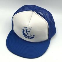 Finland Viking Ship Snapback Foam Mesh Trucker White Blue Adjustable Hat... - $19.99