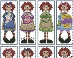 Raggedy Annies Year Round Bookmark Collection cross stitch chart PinoyStitch