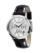Emporio Armani AR2432 Black Leather White Dial Chronograph Watch New In Box - $149.99
