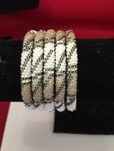 Roll On Glass Seed Beaded Bracelet Gold White Black Glass Beaded Bangles 1 Pc. - $4.50