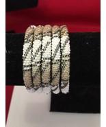 Roll On Glass Seed Beaded Bracelet Gold White Black Glass Beaded Bangles 1 Pc. - $24.50