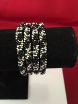 Roll On Glass Seed Beaded Bracelet - Black Gold White Glass Beaded Bangl... - $3.65