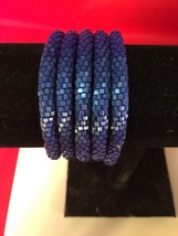 Roll On Glass Seed Beaded Bracelet - Solid Blue Glass Beaded Bangles 1 Pc. - $3.65