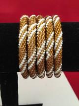 Roll On Glass Seed Beaded Bracelet Gold Brown  White Glass Beaded Bangle... - $3.99