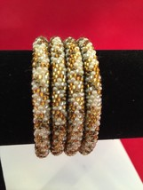 Roll On Glass Seed Beaded Bracelet Gold Brown  White Glass Beaded Bangles 1 Pc. - $3.99