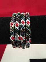 Roll On Glass Seed Beaded Bracelet Blue Red White Glass Beaded Bangles 1 Pc. - $3.99