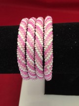 Roll On Glass Seed Beaded Bracelet - Pink White Light Glass Beaded Bangl... - $3.65