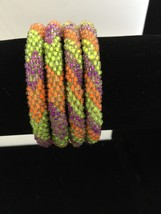 Roll On Glass Beaded Bracelet - Nepal Glass Bead1 Pc. Pink Orange Blue P... - $3.71