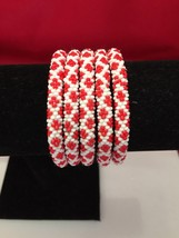 Roll On Glass Seed Beaded Bracelet Red White Mix Glass Beaded Bangles 1 Pc. - $3.99