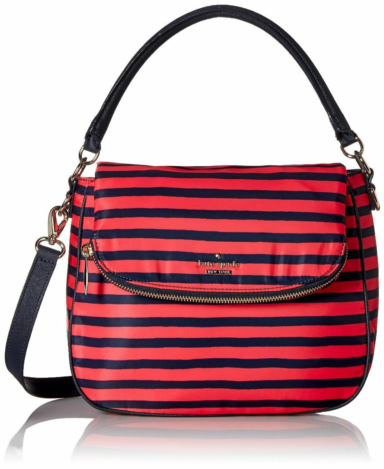 Kate Spade Women Classic Nylon Small Devin Crossbody Bag Black  Geranium/Navy