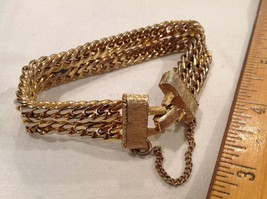 "7"" Dual Chain Link Bracelet Excellent Vintage Gold Tone with Safety Chai... - $13.09"