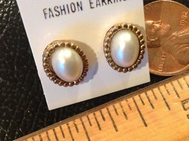 "3/8"" long Intricate Earrings Gold Tone Faux Pearl Center posts for pierc... - $8.89"