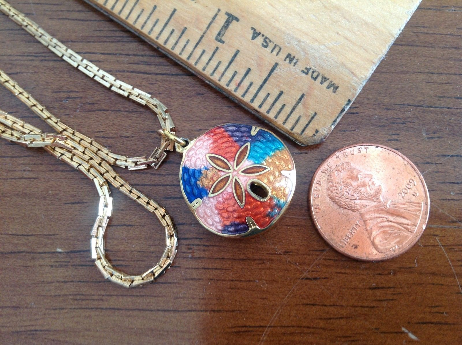 "Primary image for 3/4"" Gold tone Metallic Cloisonne Enamel Sand Dollar Design Pendant and Necklace"