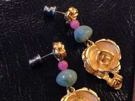 "2"" Dangling Earrings Pierced Ears Gold Tone Alloy Rose, Pink Green Resin... - $13.09"