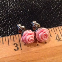 "3/8"" Pink Delicate Fabric Roses Earrings for Pierced Ears Silver Tone - $11.83"