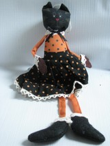 BLACK CAT  DOLL ORNAMENT  ORANGE AND  BLACK POLKA DOTS  - £8.99 GBP