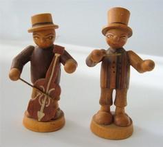 "Vtg Erzgebirge Hand Carved Wood Musician men Figures Xmas Putz Anri 2.5""... - $29.65"