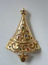 Vtg Multi Color Rhinestone Xmas Tree Brooch Pin Gold tone  Open - $19.76