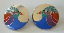 """Vtg LAUREL BURCH  """"Celestial Birds"""" Enamel Earrings Silver tone Multi Co... - $19.70"""