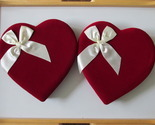 Two Matching Red Velvet Valentine Candy Boxes with White Satin Bows