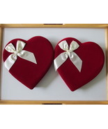 Two Matching Red Velvet Valentine Candy Boxes with White Satin Bows - $10.00