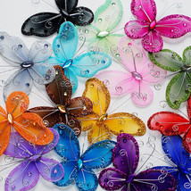 "3"" Sheer Nylon Crystal Wire Butterfly w/ Rhinestones Party decorations 2... - $15.00"