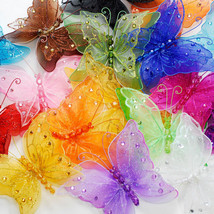 "5"" Sheer Nylon Crystal Wire Butterfly w/ Rhinestones Party decorations 1... - $20.56+"