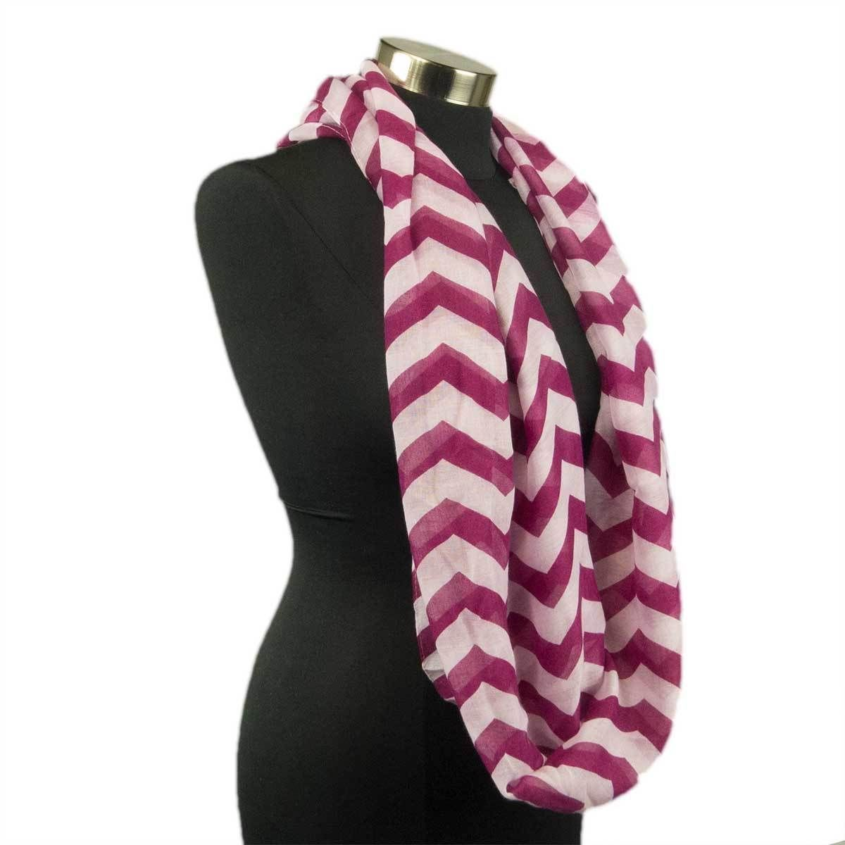 Primary image for Chevron Sheer Infinity Scarf Soft Multi Color Scarves Wine Wrap Lightweight New