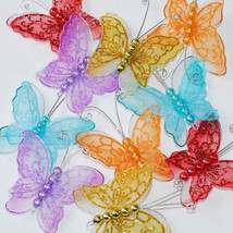 "2"" Sheer Nylon Crystal Wire Butterfly w/beads Party decorations 24PCS - $15.00"